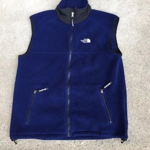 North Face Men's Blue Fleece Vest Large